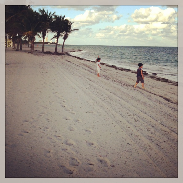 Soft sand and warm, clear weather.  I can dig this side of Miami